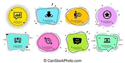 分析的, ランキング, ベクトル, set., オンラインで, 星, 忠誠, 顔, signs., アイコン, 買い物, 微笑, チャット, ダウンロード