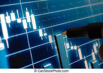 分析, チャート, 市場, 株