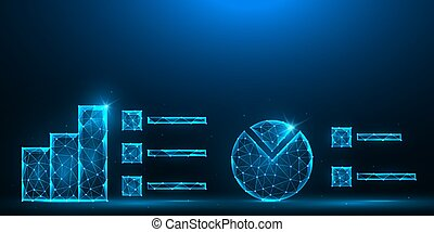 分析, 分析的, チャート, polygonal, poly, バックグラウンド。, 青, バー, design., データ, 低い, 統計上である, イラスト, ベクトル