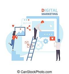 分析, 創造的, ベクトル, イメージ, 網, チーム, 平ら, 管理, 作戦, デジタルのイラスト, マーケティング, 仕事, ビジネス, 内容