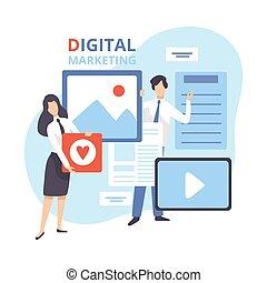 分析, 創造的, ベクトル, 平ら, チーム, 管理, 作戦, デジタルのイラスト, マーケティング, 仕事, ビジネス, 内容