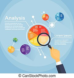 分析, 図, 金融, ビジネスマン, 拡大する, パイ, 手, ガラス