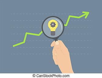 分析, 成長, 平ら, イラスト, 概念