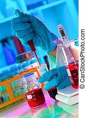 分析, 緩衝器, 調整, 解決, 科學家, ph