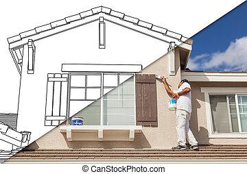 分裂, 絵, 画家, 家の家, 図画, 写真, スクリーン, 対角線