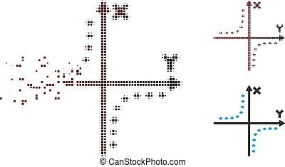 分解した, 点を打たれた, プロット, halftone, hyperbola, ピクセル, アイコン