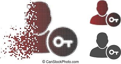 分解した, halftone, pixelated, ユーザー, ログイン, アイコン