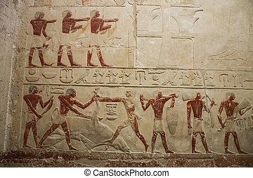 分解しなさい, temple., bas - レリーフ, 古代, egypt.