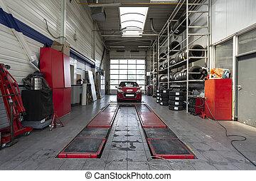 分解検査, 自動車, 現代, ガレージ, リフト, の間, 赤