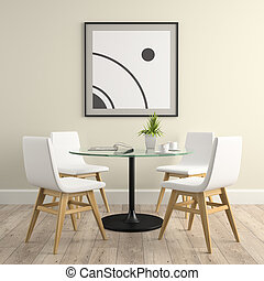 分開, 內部, 由于, 椅子, 以及, 桌子, 3d, rendering