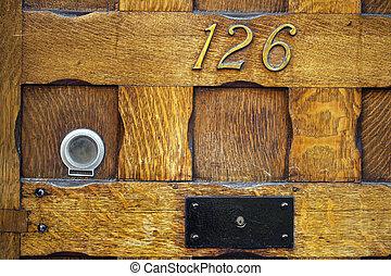 分開, 木制, 前面, door.