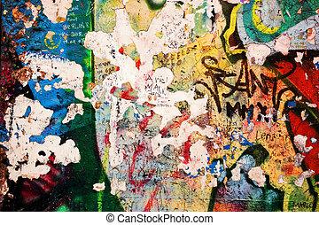 分開, 柏林牆, 由于, graffiti