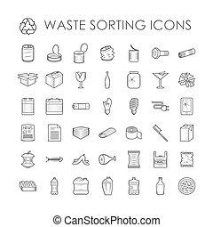 分離, ごみ, 関係した, アウトライン, 分類, セット, 無駄, icons., リサイクル