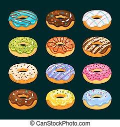 分類される, ドーナツ, icons., チョコレート, ドーナツ, ベクトル, イラスト, ケーキ, 漫画
