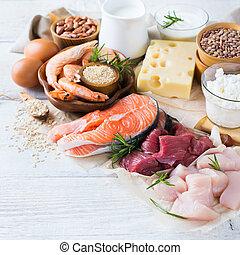 分類, ......的, 健康, 蛋白質, 來源, 以及, 身體建築物, 食物