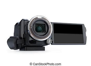 切り抜き, スクリーン, 隔離された, バックグラウンド。, カメラ, ビデオ, デジタル, 白, 持つ, path.