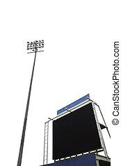 切り抜き, スコアボード, jpg., 隔離された, 競技場, フラッドライト, 高い, 白, 道