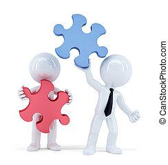 切り抜き, ビジネス 人々, isolated., concept., ∥含んでいる∥, puzzle., 小片, チームワーク, 道