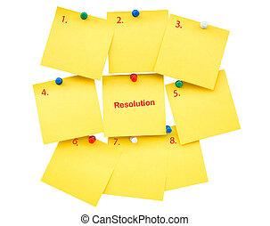 切り抜き, ブランク, text., 隔離された, 黄色い粘着性があるノート, 年, 新しい, 決断, 道