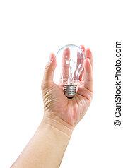 切り抜き, ライト, 隔離された, 手の 保有物, 電球, 道
