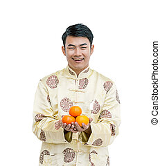 切り抜き, 保有物, cheongsam, 隔離された, orange., アジア人, 背景, path., 人