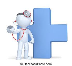 切り抜き, 医者, isolated., ∥含んでいる∥, 道, stethoscope.