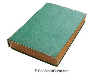 切り抜き, 古い, 隔離された, 本, 緑の背景, 道, 白