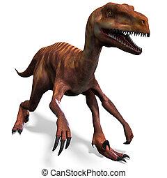 切り抜き, 恐竜, 上に, レンダリング, 道, deinonychus., 影, 白, 3d