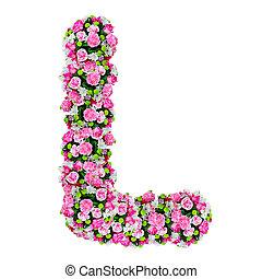 切り抜き, 花, アルファベット, l, 隔離された, 道, 白