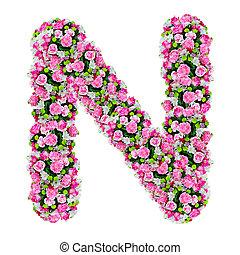 切り抜き, 花, n, アルファベット, 隔離された, 道, 白
