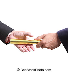 切り抜き, 金, ビジネスマン, バトン, 道, 競争, 送りなさい, チームワーク, 概念