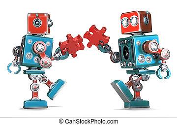 切り抜き, 集まっていること, ∥含んでいる∥, isolated., 困惑, ジグソーパズル, ロボット, pieces., レトロ, 道