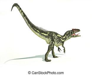 切り抜き, allosaurus, 代表, 科学的に, 動的, 恐竜, 正しい, photorealistic,...