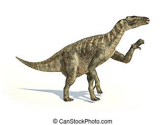 切り抜き, iguanodon, 代表, 科学的に, 動的, posture., 正しい, 恐竜,...