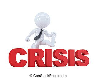 切り抜き, isolated., 上に, ∥含んでいる∥, 跳躍, ビジネスマン, 道, 印。, 'crisis'