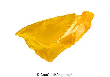 切り離された, バックグラウンド。, 優雅である, 滑らかである, 黄色, 布, 白, 透明