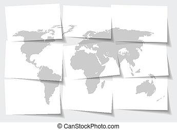 切り離された, 地図, 概念, 抽象的, -, イラスト, メモ, ベクトル, 背景, ペーパー, 世界