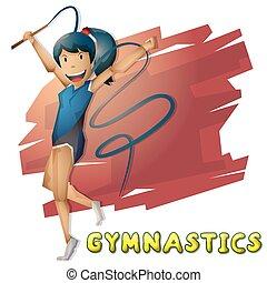 切り離された, 層, オリンピック, ベクトル, 体操, スポーツ, 漫画