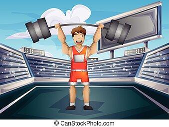 切り離された, 層, オリンピック, ベクトル, 重量挙げ, スポーツ, 漫画