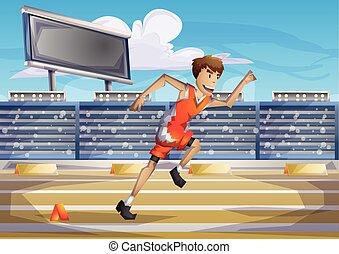 切り離された, 層, オリンピック, 動くこと, ベクトル, スポーツ, 漫画