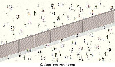 切り離された, wall., 2, グループ, 人々
