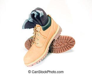 切口, でこぼこである, ragg, 作業用のブーツ, ソックス, 屋外, 低い, オックスフォードの靴