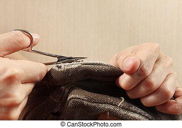 切口, はさみ, 布, クローズアップ, 手, 対, clothier, 強い