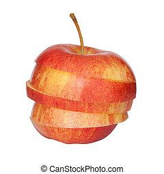 切口, アップル, 赤, に薄く切る