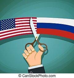 切口, アメリカ, scissors., t, ロシア人, 旗, 対立