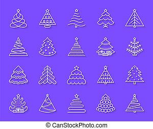 切口, セット, アイコン, 単純である, 木, ペーパー, ベクトル, クリスマス