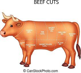 切口, セット, 牛肉