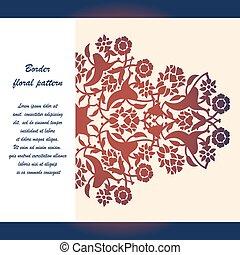 切口, レーザー, vector., パターン, 装飾, アラベスク, 花, テンプレート