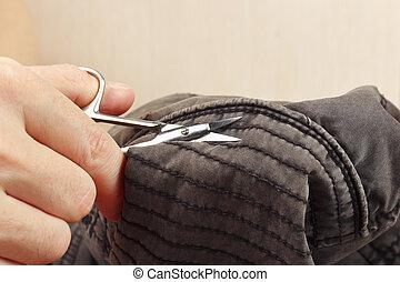 切口, 下水道, クローズアップ, 手, 対, はさみ, 綿, 衣服