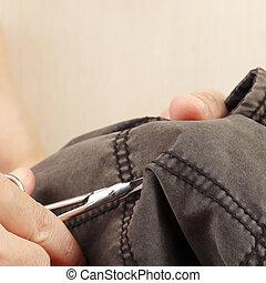 切口, 仕立屋, クローズアップ, 手, 対, はさみ, 綿, 衣服